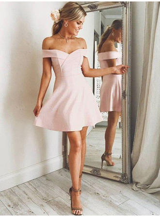 A-Line/Princess Short/Mini Homecoming Dresses Off-the-Shoulder Stretch Crepe Sleeveless
