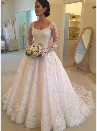 Lace Ball-Gown Cathedral Train Scoop Wedding Dresses Long Sleeves