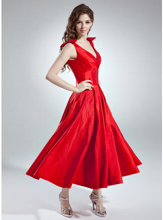 Taffeta Sleeveless A-Line/Princess Bridesmaid Dresses V-neck Ruffle Bow(s) Ankle-Length