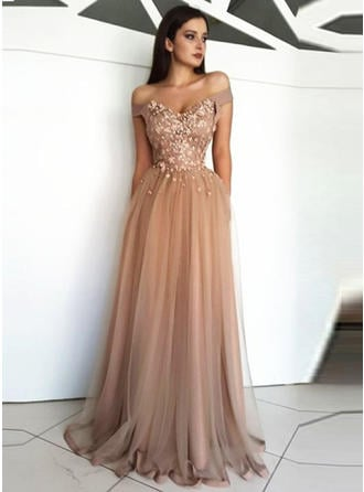 Modern Tulle Evening Dresses A-Line/Princess Floor-Length Off-the-Shoulder Short Sleeves (017217835)