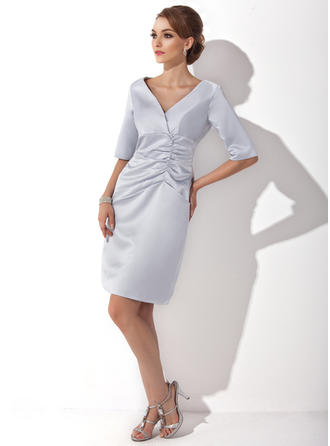 Flattering Knee-Length Sheath/Column Satin Mother of the Bride Dresses