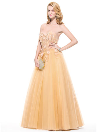 Tulle Sleeveless Ball-Gown Prom Dresses Sweetheart Appliques Lace Flower(s) Floor-Length