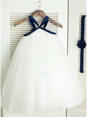 2019 New Ankle-length A-Line/Princess Flower Girl Dresses Straps Tulle Sleeveless