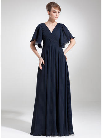 Chiffon Short Sleeves Mother of the Bride Dresses V-neck Empire Cascading Ruffles Floor-Length
