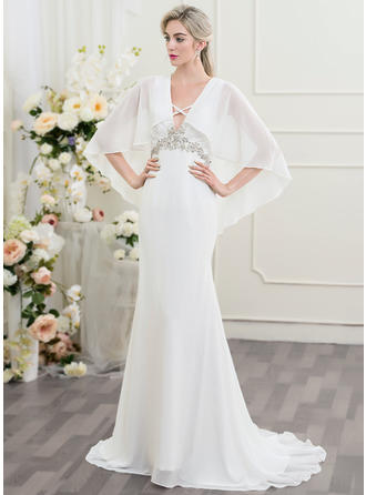 2019 New Sweep Train Trumpet/Mermaid Wedding Dresses Sweetheart Chiffon