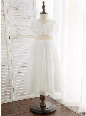 A-Line Tea-length Flower Girl Dress - Tulle Short Sleeves V-neck With Sash/Sequins