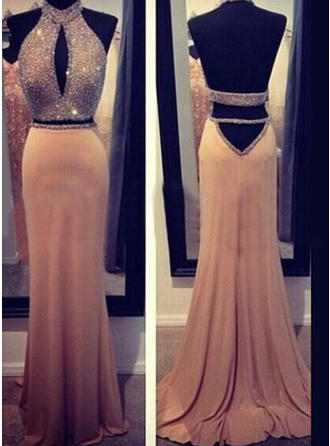 Chiffon Sleeveless Sheath/Column Prom Dresses Halter Beading Sweep Train