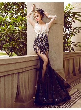 Trumpet/Mermaid Scoop Neck Floor-Length Evening Dress With Beading Sequins