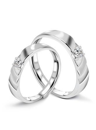 Klassisk stil 925 pund Sterling Försilvrar Par' Ringar