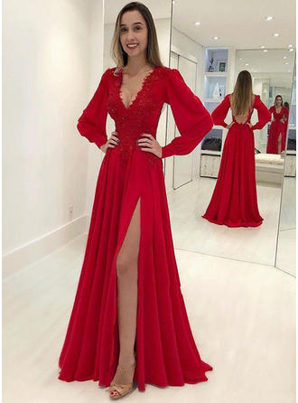 Chiffon Long Sleeves A-Line/Princess Prom Dresses V-neck Appliques Lace Split Front Sweep Train