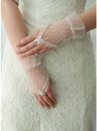 Tulle Ladies' Gloves Wrist Length Bridal Gloves Fingerless Gloves