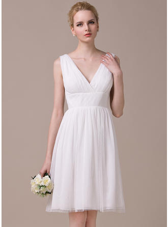 Stunning Chiffon Tulle Wedding Dresses A-Line/Princess Knee-Length Sweetheart Sleeveless