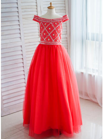 Ball Gown Floor-length Flower Girl Dress - Satin/Tulle Sleeveless Off-the-Shoulder With Sequins/Rhinestone