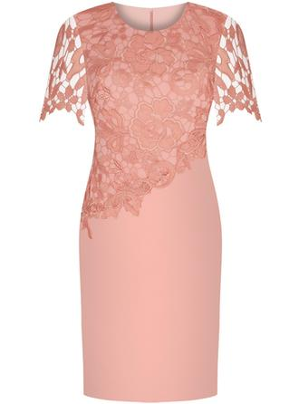 Sheath/Column Satin Lace Short Sleeves Scoop Neck Knee-Length Zipper Up Mother of the Bride Dresses