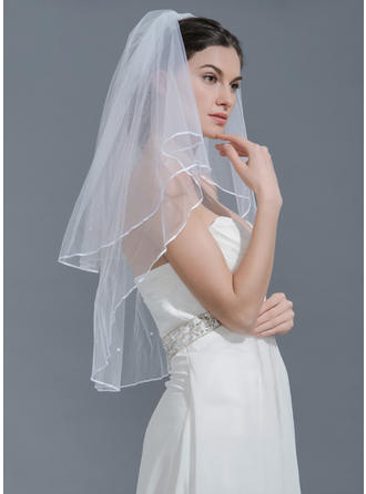 Fingertip Bridal Veils Tulle Two-tier Classic With Pencil Edge Wedding Veils