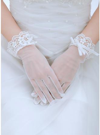 Voile Ladies' Gloves Wrist Length Bridal Gloves Fingertips Gloves
