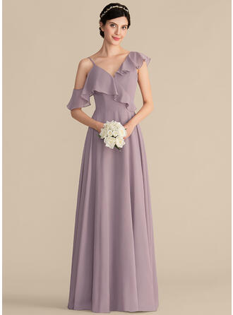 Vestidos princesa/ Formato A Decote V Longos Tecido de seda Vestido de madrinha com Babados em cascata