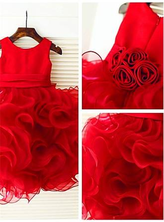 Scoop Neck Ball Gown Flower Girl Dresses Taffeta/Organza Ruffles/Flower(s) Sleeveless Knee-length