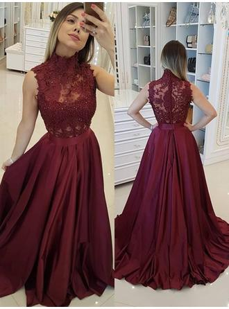 A-Line/Princess High Neck Satin Sleeveless Sweep Train Beading Appliques Lace Evening Dresses