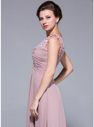 A-Linie/Princess-Linie V-Ausschnitt Chiffon Ärmellos Bodenlang Rüschen Spitze Perlstickerei Pailletten Kleider für die Brautmutter (008211502)
