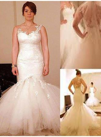 Trumpet/Mermaid Scoop Floor-Length Wedding Dress With Appliques Lace (002210878)