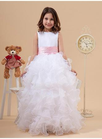 Ball Gown Scoop Neck Floor-length With Bow(s) Organza/Satin Flower Girl Dresses