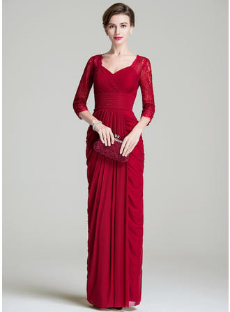 Sheath/Column Lace Jersey 3/4 Sleeves Sweetheart Floor-Length Zipper Up Mother of the Bride Dresses