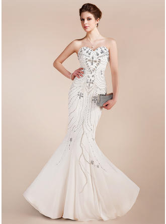 Trumpet/Mermaid Sweetheart Floor-Length Prom Dresses With Beading