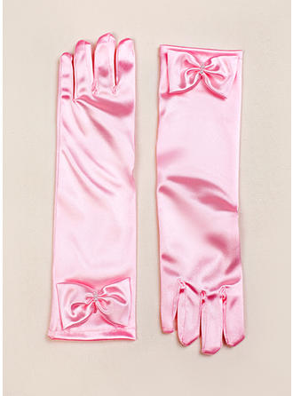 Elastic Satin Children's Gloves Flower Girl Gloves Fingertips S:28cm/M:32cm/L:34cm Gloves