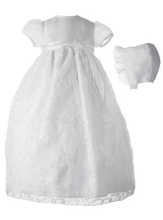 Tulle Sequined Scoop Neck Baby Girl's Christening Gowns With Short Sleeves