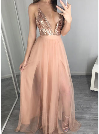 Tulle A-Line/Princess Luxurious Evening Dresses Sleeveless