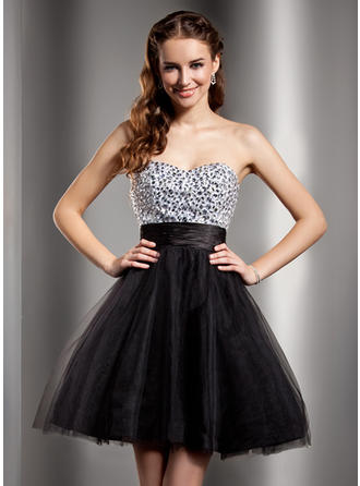 Empire Sweetheart Short/Mini Charmeuse Tulle Homecoming Dresses With Beading