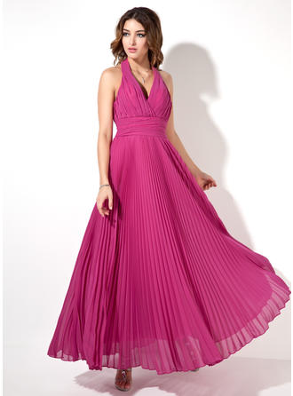 A-Line/Princess Halter Ankle-Length Evening Dress With Pleated