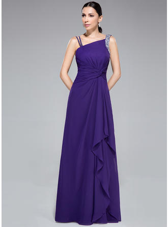 Chiffon Sleeveless Sheath/Column Prom Dresses Ruffle Beading Watteau Train