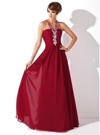 A-Line/Princess Halter Floor-Length Prom Dresses With Ruffle Beading