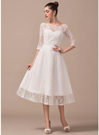 A-Line/Princess Scoop Neck Tea-Length Lace Wedding Dress