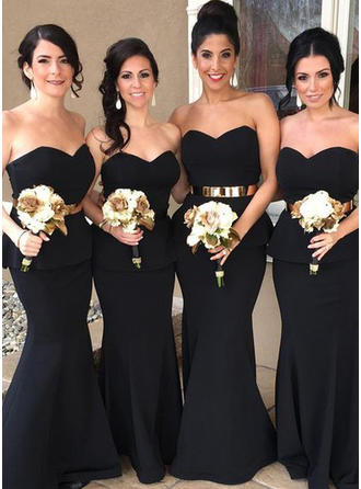 Trumpet/Mermaid Satin Bridesmaid Dresses Cascading Ruffles Sweetheart Sleeveless Floor-Length