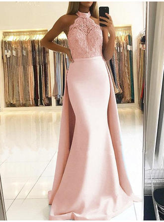 Lace Halter With Trumpet/Mermaid Satin Evening Dresses