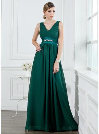 A-Linie/Princess-Linie V-Ausschnitt Bodenlang Chiffon Brautjungfernkleid mit Rüschen Perlstickerei