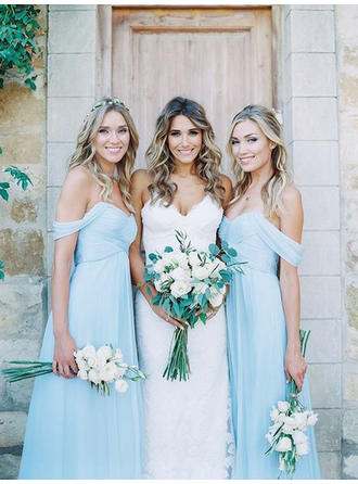 Chiffon Sleeveless A-Line/Princess Bridesmaid Dresses Off-the-Shoulder Ruffle Floor-Length