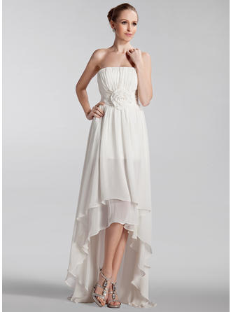Modern Asymmetrical A-Line/Princess Wedding Dresses Strapless Chiffon Sleeveless