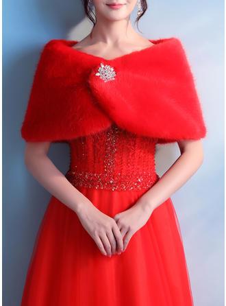 Wrap Bryllup Imiteret Pels Red Wraps & Bolerojakker