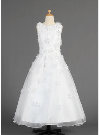 A-Line/Princess Scoop Neck Floor-length With Lace/Flower(s) Organza Flower Girl Dress