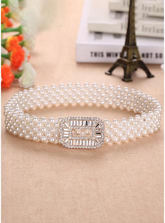 Elegant PU Schleifenbänder/Stoffgürtel mit Faux-Perlen