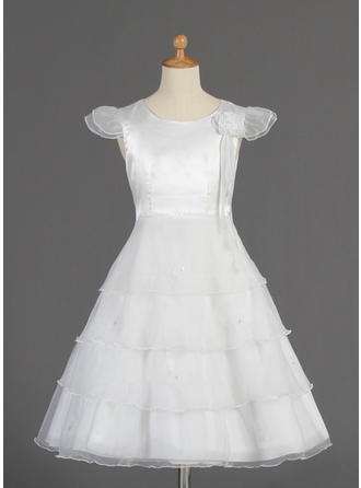 A-Line/Princess Scoop Neck Tea-length With Beading/Flower(s)/Bow(s) Organza/Charmeuse Flower Girl Dress