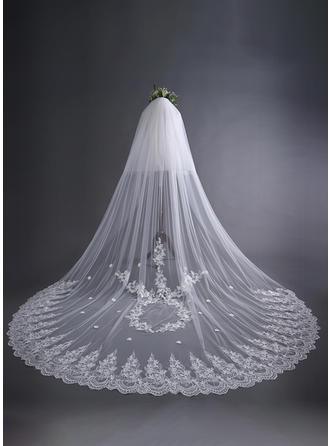 Two-tier Lace Applique Edge Cathedral Bridal Veils