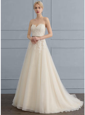 Beading Sequins Bow(s) A-Line/Princess - Tulle Lace Wedding Dresses