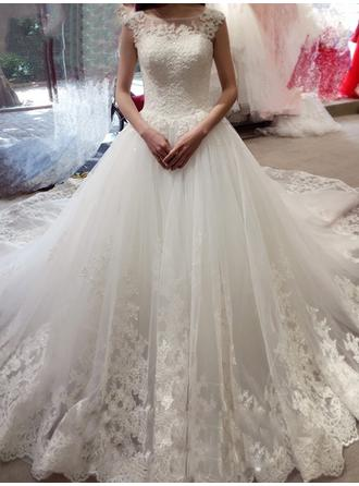 Ball-Gown Scoop Royal Train Wedding Dresses With Beading