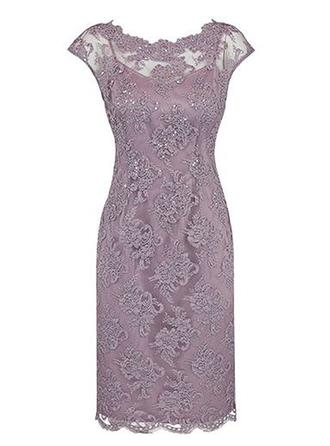 Sheath/Column Scoop Neck Knee-Length Lace Mother of the Bride Dress With Beading
