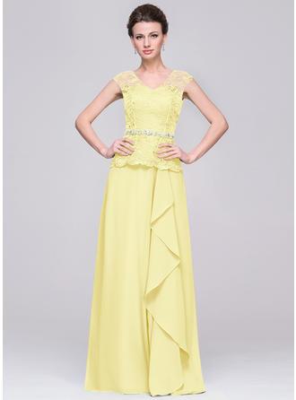 A-Line/Princess V-neck Chiffon Sleeveless Floor-Length Beading Cascading Ruffles Mother of the Bride Dresses